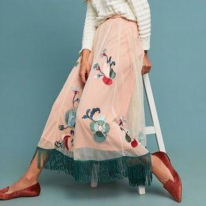 Anthropologie Pink Fringed Tulle Tassel Maxi Skirt